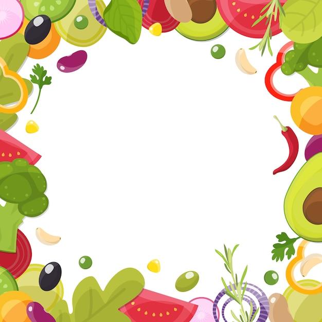 Modèle de menu avec cadre d'ingrédients en tranches Vecteur Premium