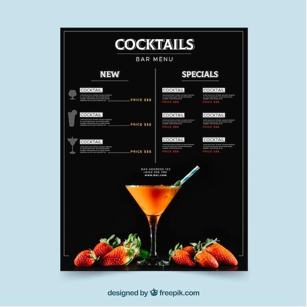 Modèle de menu cocktail avec un design plat Vecteur gratuit