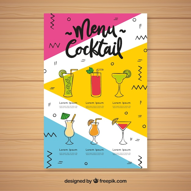 Modèle de menu cocktail avec différentes boissons Vecteur gratuit