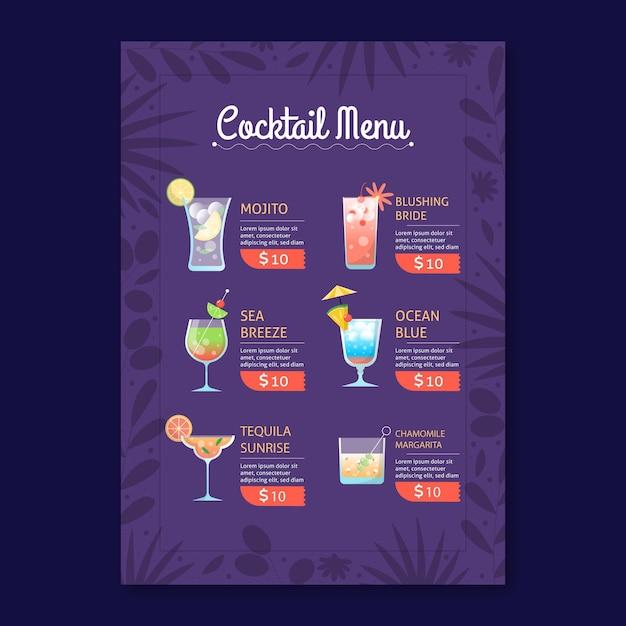 Modèle De Menu De Cocktail Vecteur gratuit