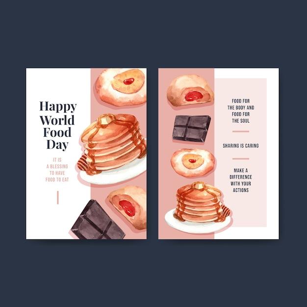 Modèle De Menu Avec La Conception De Concept De La Journée Mondiale De L'alimentation Pour L'aquarelle De Restaurant Et D'alimentation Vecteur gratuit
