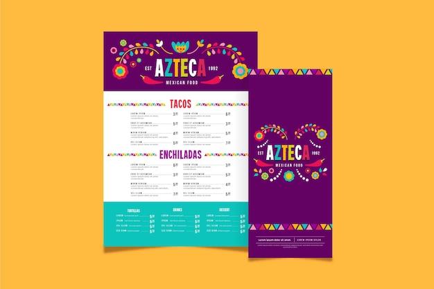 Modèle De Menu De Cuisine Mexicaine Vecteur gratuit