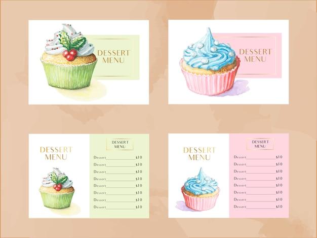 Modèle de menu dessert vector sertie de petits gâteaux à l'aquarelle Vecteur Premium