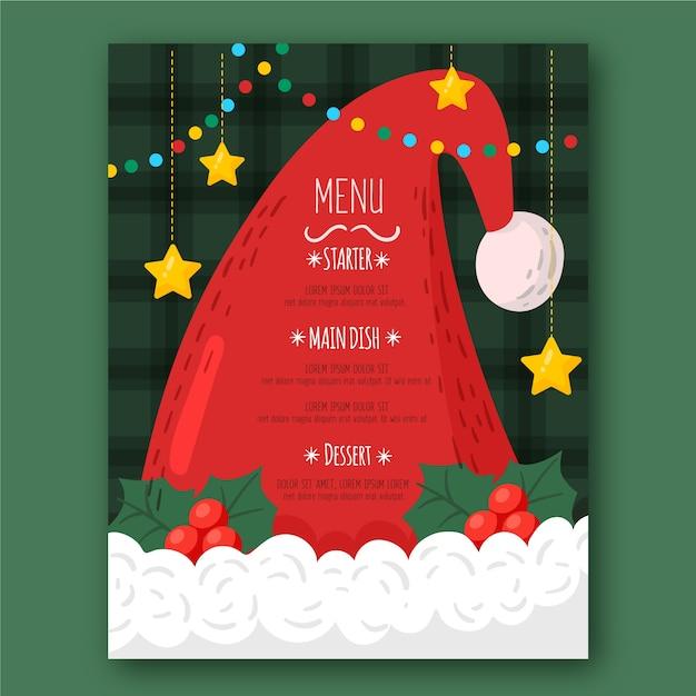 Modèle De Menu Du Chapeau Du Père Noël Avec étoiles Suspendues Vecteur gratuit