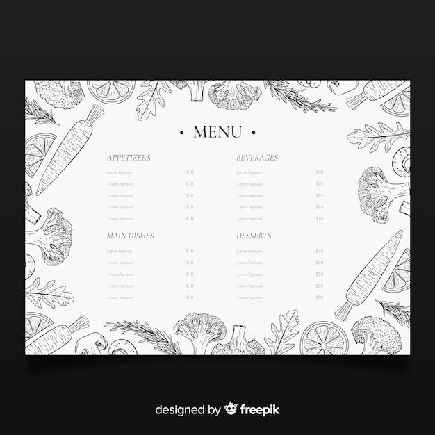 Modèle de menu élégant restaurant dessiné à la main Vecteur gratuit