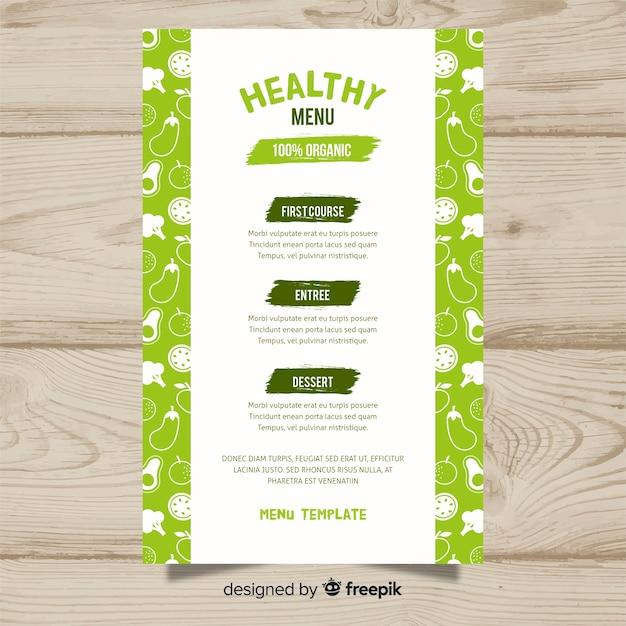 Modèle De Menu De Fruits Et Légumes Frais Vecteur gratuit