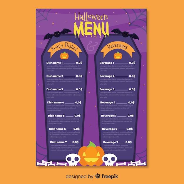Modèle De Menu Halloween Cercueil Vecteur gratuit