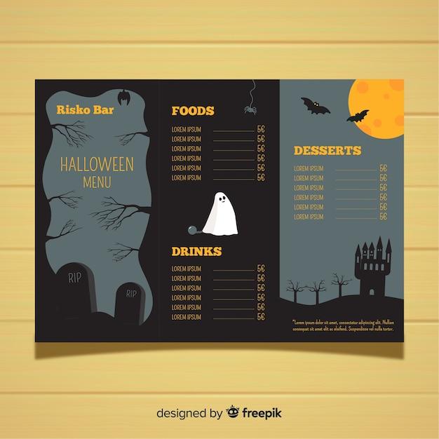 Modèle de menu d'halloween avec un design plat Vecteur gratuit