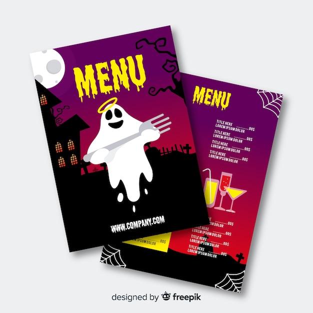 Modèle de menu halloween design plat Vecteur gratuit