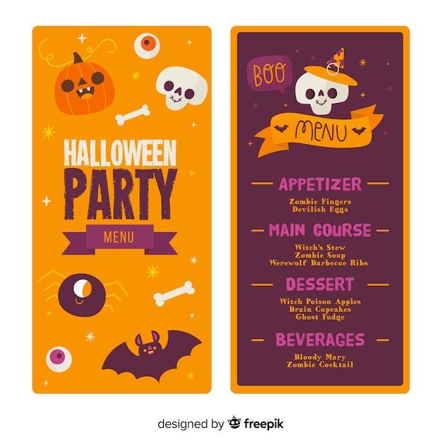 Modèle de menu halloween dessiné à la main Vecteur gratuit