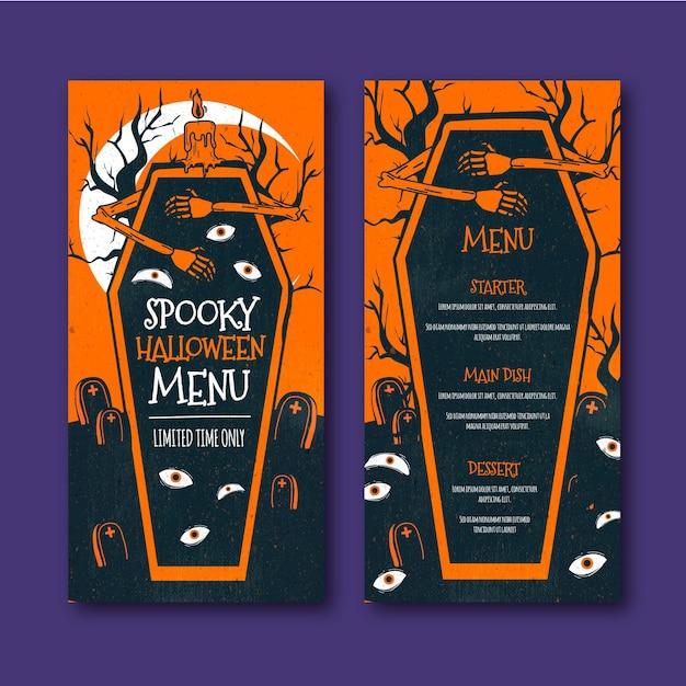 Modèle De Menu Halloween Effrayant Vecteur gratuit