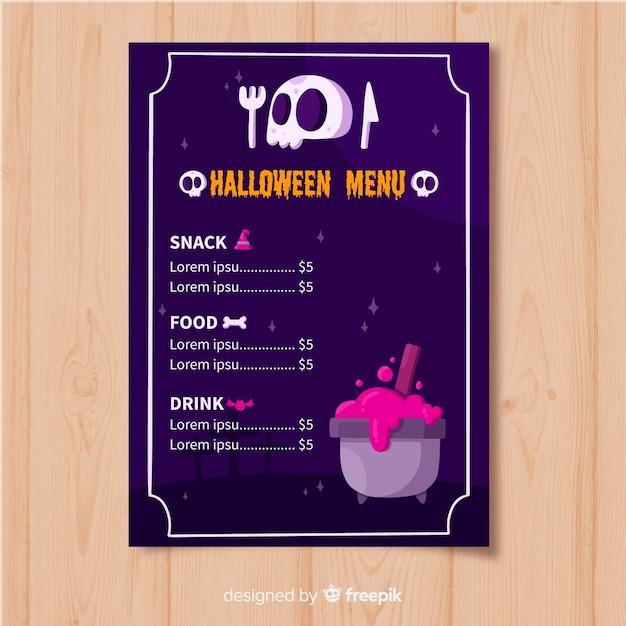 Modèle de menu halloween plat avec crâne et creuset Vecteur gratuit