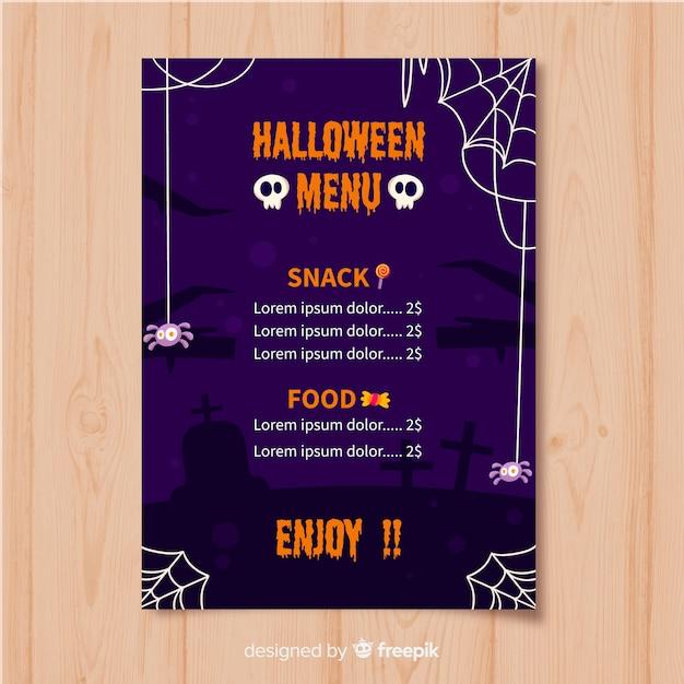 Modèle de menu halloween plat avec crâne et toiles d'araignées Vecteur gratuit