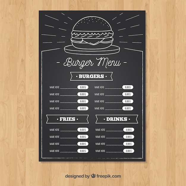 Modèle De Menu Hamburger à La Craie Vecteur gratuit