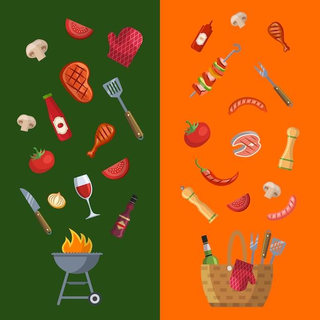 Modèle de menu horizontal barbecue, grill ou steak house Vecteur Premium