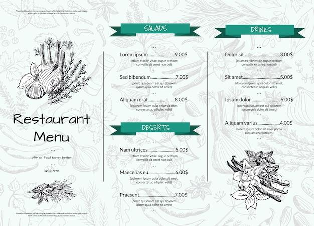 Modèle de menu horizontal de restaurant ou de café avec des herbes et des épices dessinés à la main Vecteur Premium