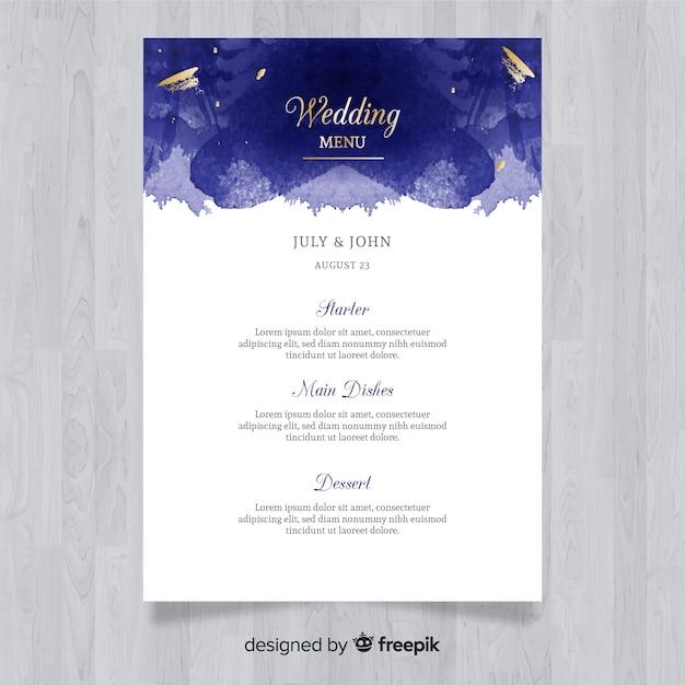Modèle de menu de mariage élégant aquarelle Vecteur gratuit