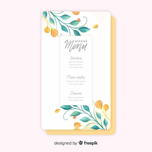Modèle de menu de mariage floral aquarelle Vecteur gratuit