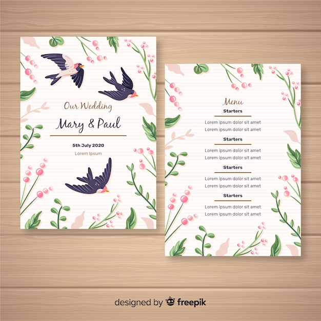 Modèle de menu de mariage floral dessiné à la main Vecteur gratuit