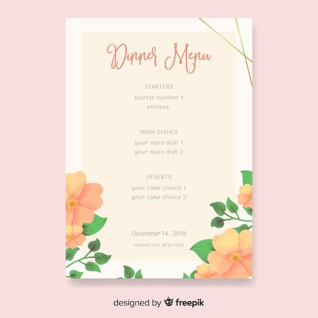 Modèle de menu de mariage nature aquarelle Vecteur gratuit