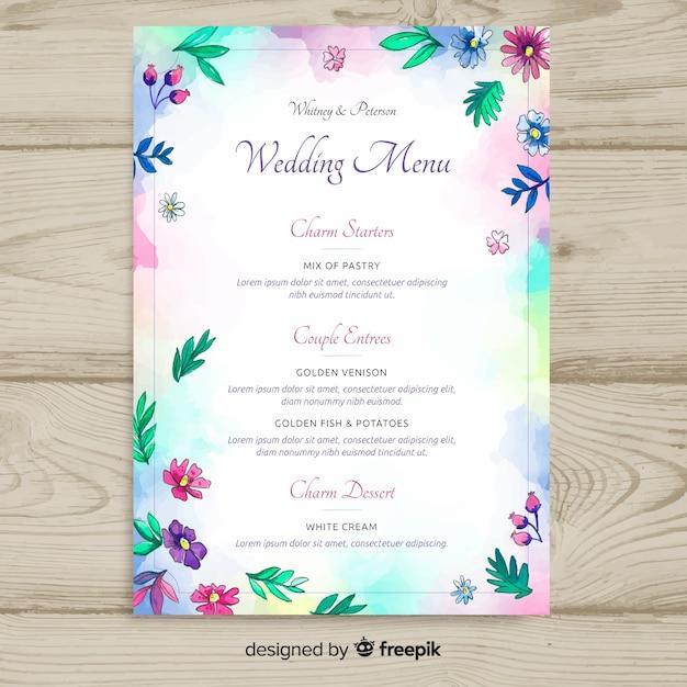 Modèle de menu de mariage de style aquarelle Vecteur gratuit