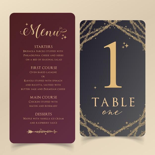 Modèle de menu modifiable avec une carte de numéro de table Vecteur Premium