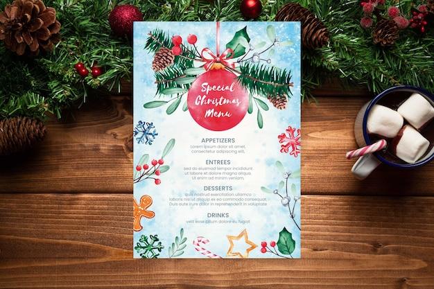 Modèle De Menu De Noël Aquarelle Vecteur gratuit