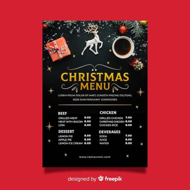 Modèle de menu de noël décoratif Vecteur gratuit