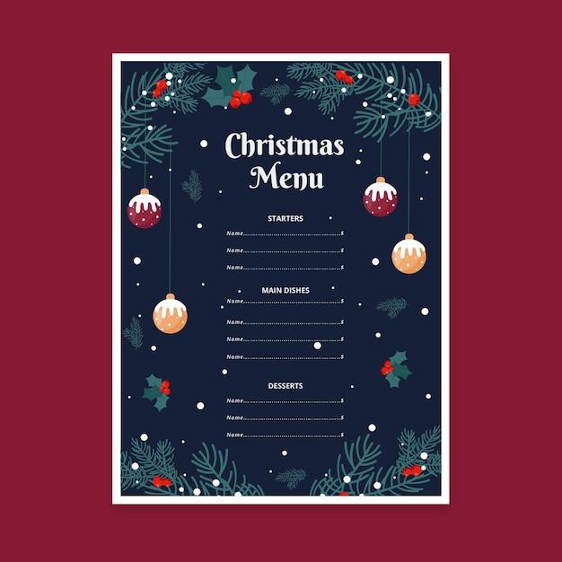 Modèle De Menu De Noël Design Plat Vecteur gratuit