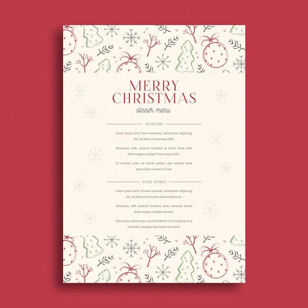 Modèle De Menu De Noël Dessiné à La Main Vecteur gratuit