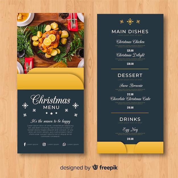 Modèle de menu de noël élégant avec photo Vecteur gratuit