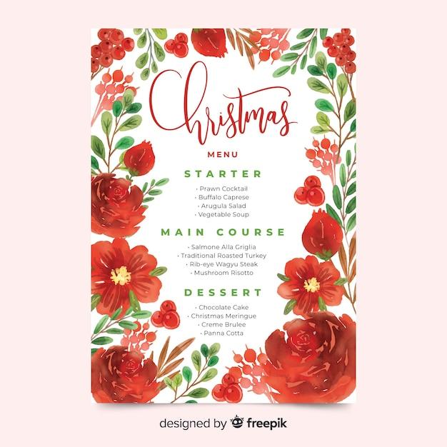 Modèle De Menu De Noël Floral Aquarelle Télécharger Des