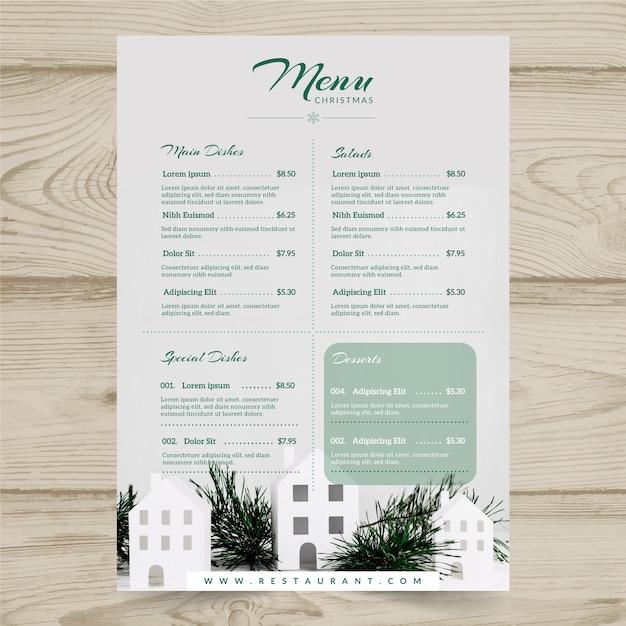 Modèle de menu de noël avec photo Vecteur gratuit