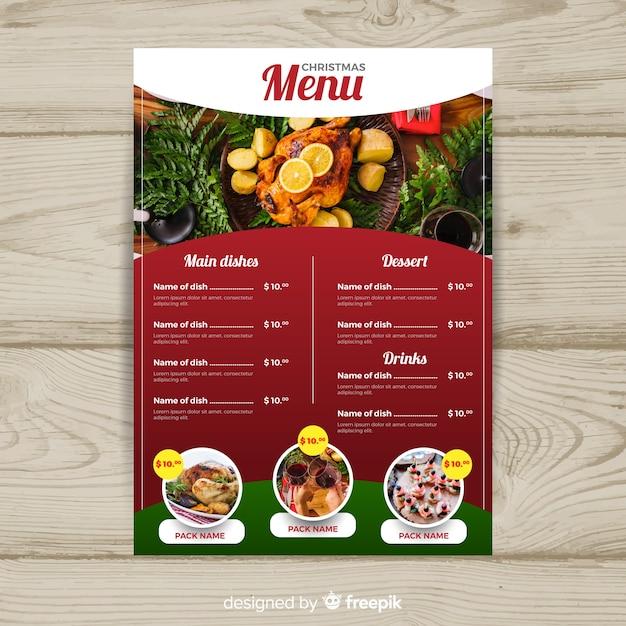 Modèle de menu de noël photograpic Vecteur gratuit