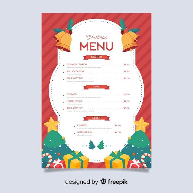Modèle de menu de noël plat avec des cadeaux Vecteur gratuit