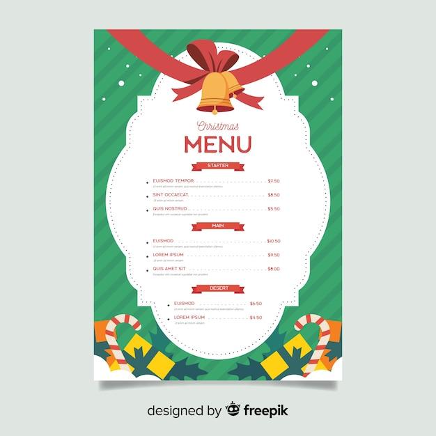 Modèle De Menu De Noël Plat Avec Des Grelots Vecteur gratuit