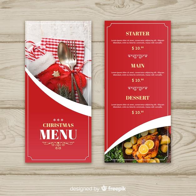 Modèle de menu de noël de texte photographique doré Vecteur gratuit