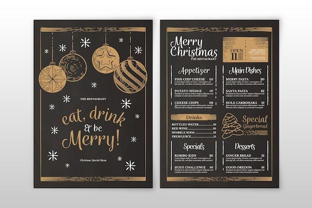 Modèle De Menu De Noël Vintage Vecteur gratuit
