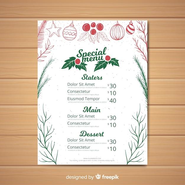 Modèle de menu de noël Vecteur gratuit