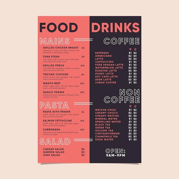 Modèle De Menu De Nourriture Et De Boissons Modernes Vecteur gratuit