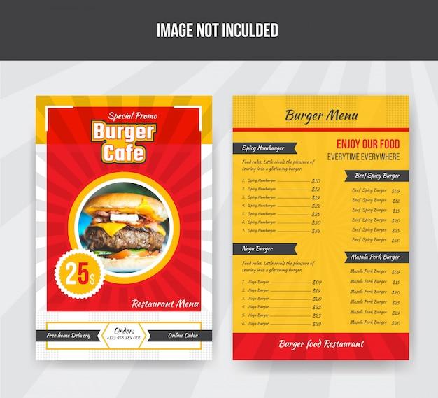 Modèle De Menu De Nourriture De Café De Burger Pour Le Restaurant Vecteur Premium