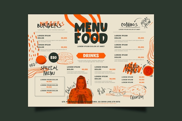 Modèle De Menu De Nourriture De Restaurant Spécial Vecteur gratuit