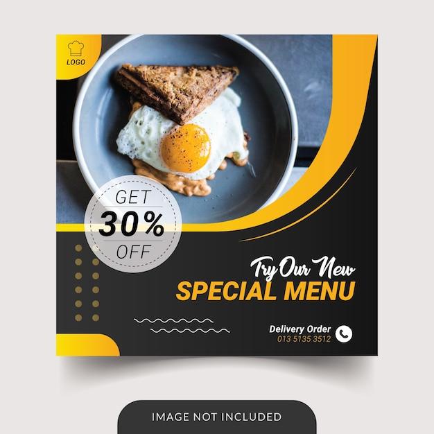 Modèle De Menu De Nourriture De Restaurant Vecteur Premium