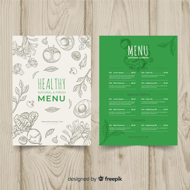Modèle de menu organique incolore Vecteur gratuit