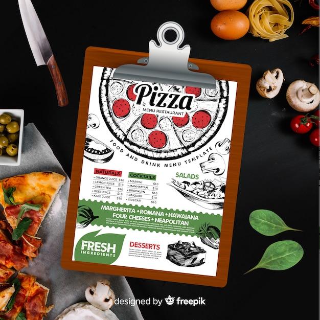 Modèle de menu pizza dans un style vintage Vecteur gratuit