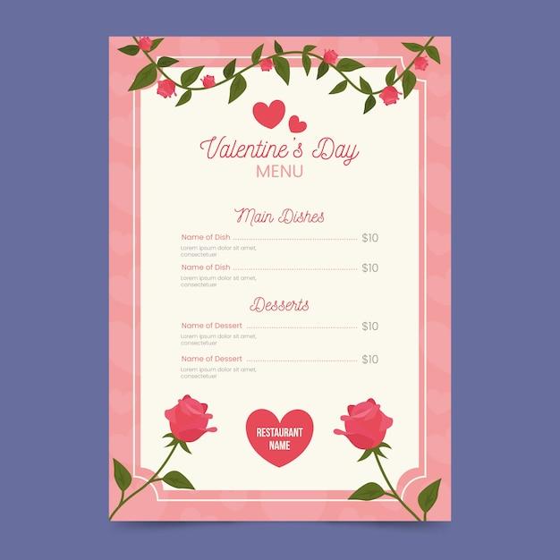 Modèle De Menu Plat Floral Saint Valentin Vecteur gratuit
