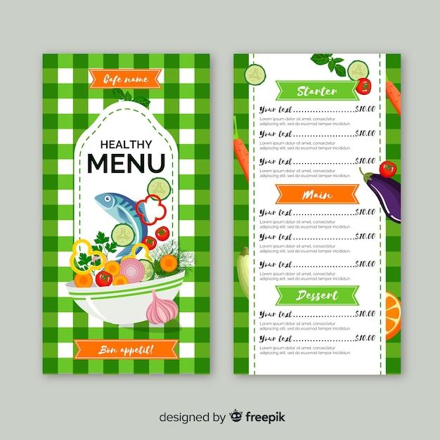 Modèle de menu plat sain Vecteur gratuit
