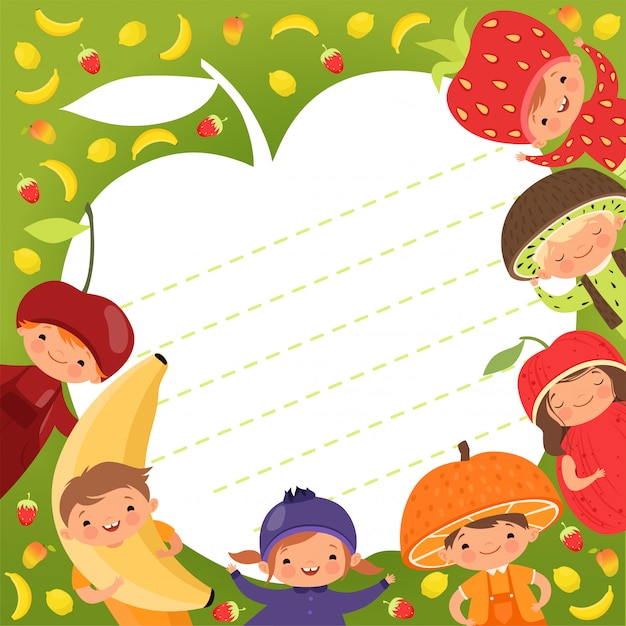 Modèle de menu pour enfants. fond coloré avec illustrations enfants heureux en costumes de fruits Vecteur Premium
