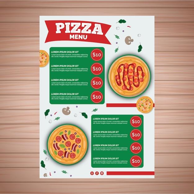 Modèle De Menu Pour Pizzeria Vecteur gratuit