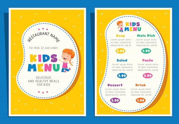 Modèle De Menu De Repas Coloré Enfants Mignons Vecteur Premium